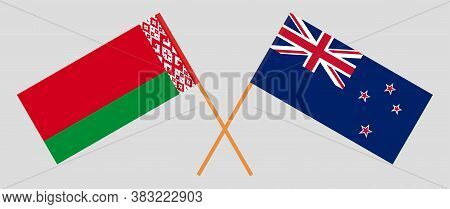 Crossed Flags Of Belarus And New Zealand. Official Colors. Correct Proportion. Vector Illustration