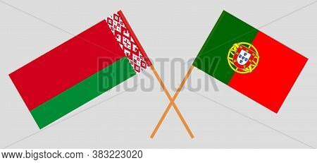 Crossed Flags Of Belarus And Portugal. Official Colors. Correct Proportion. Vector Illustration