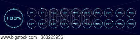 Download Progress Indicator With Percents. Set Of Circular Progress Bar Icons Vector. Collection Of