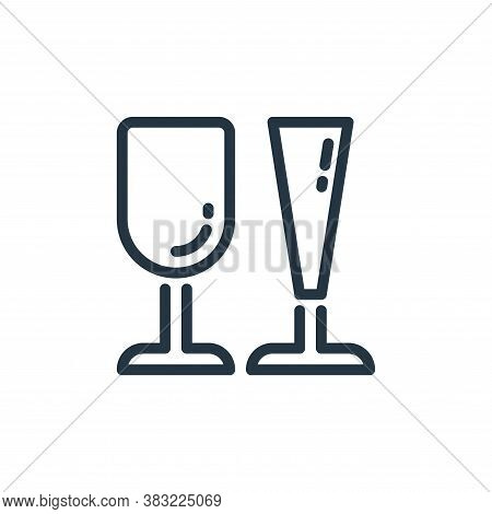 wine glass icon isolated on white background from kitchen collection. wine glass icon trendy and mod