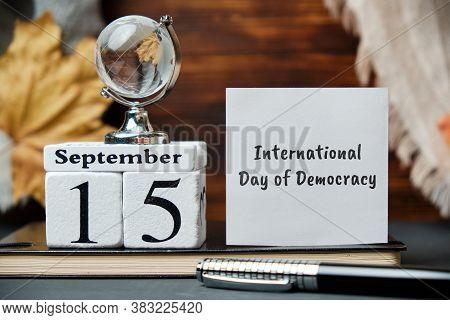 International Day Of Democracy Day Of Autumn Month Calendar September.