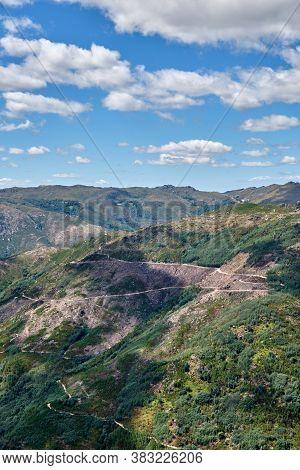 Gerês, Portugal - August 30, 2020 : View Of The Mountains Peneda-geres National Park, Gerês, Portuga