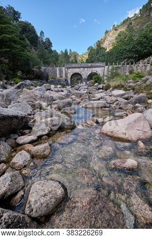 Gerês, Portugal - August 30, 2020 : Arado Bridge In The Mountains Peneda-geres National Park, Gerês,