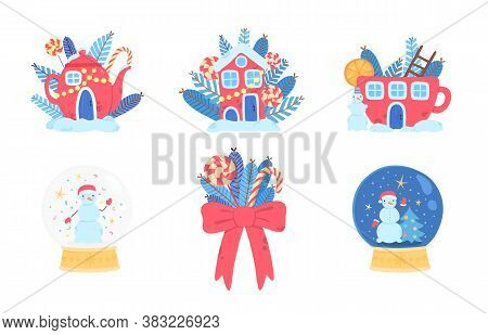 Christmas Icons Set. Red Tea Pot With Candies, Holiday Red Xmas House, Glass Snowglobe With Snowman,