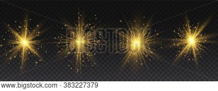 Set Of Bright Star. Yellow Glowing Light Explodes On A Transparent Background. Transparent Shining S
