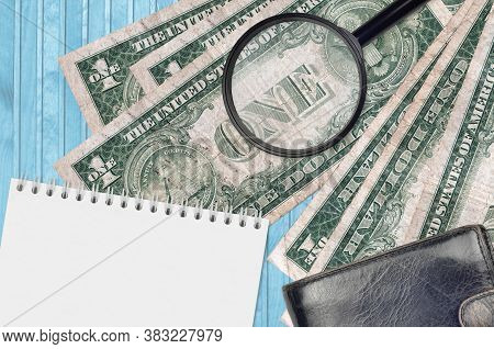 1 Us Dollar Bills And Magnifying Glass With Black Purse And Notepad. Concept Of Counterfeit Money. S