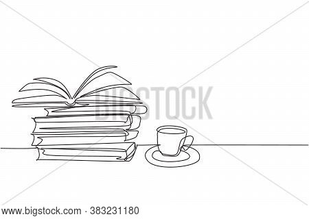 One Single Line Drawing Of Opened Page Book With A Cup Of Hot Black Espresso Coffee At School Librar