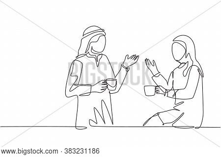 One Continuous Line Drawing Of Young Muslim And Muslimah Couple Talking Together While Enjoying A Cu