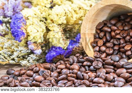 Wood Cask With Roasted Coffee Beans Heap