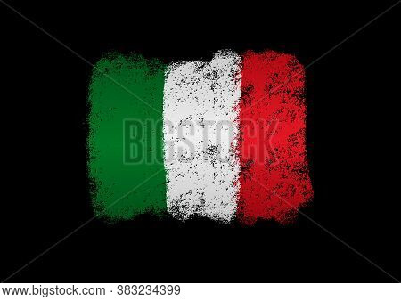 Italy Flag With Brush Paint Textured, Background, Symbols Of Italy, Graphic Designer Element - Vecto
