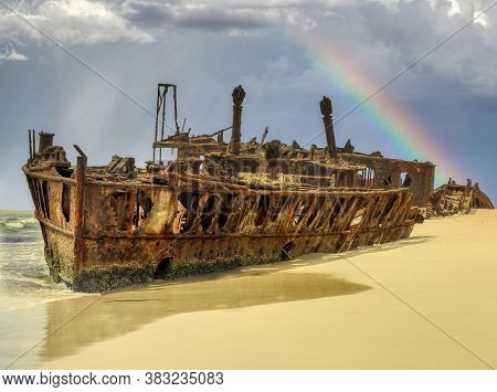 The Maheno Was Washed Ashore On To Fraser Island By A Cyclone In 1935 Where The Disintegrating Wreck
