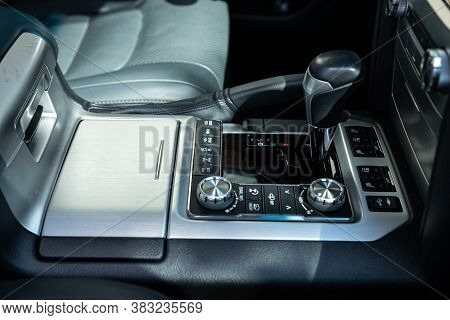 Novosibirsk/ Russia - August 28  2020:  Toyota  Land Cruiser 200, Close Up Of The Manual Gearbox Tra