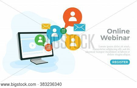 Vector Illustration Of An Online Seminar. Perfect For Background Elements From Webinars, Online Cour