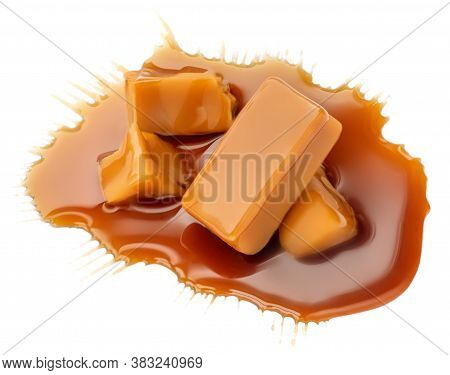 Composition Of Soft Caramel Candies Isolated On White Background, Top View. Sweet Caramel Pieces Wit