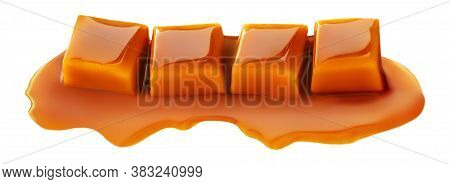 Caramel Candies And Caramel Sauce Isolated On A White Background.  Golden Butterscotch Toffees Close