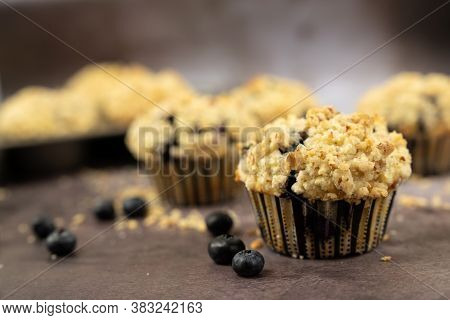 Homemade Blueberry Muffins Or Cup Cake With Streusel Topping