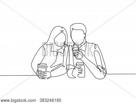 One Continuous Line Drawing Of Young Happy Male And Female Couple Lunch Together While Watching Funn