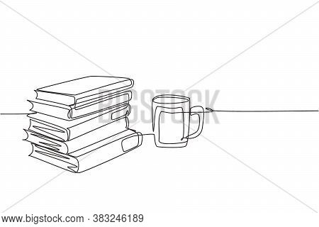Single Continuous Line Drawing Of Pile Of Books With A Cup Of Hot Black Cappuccino Coffee At Public