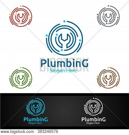 Wrench Plumbing Logo With Water And Fix Home Concept
