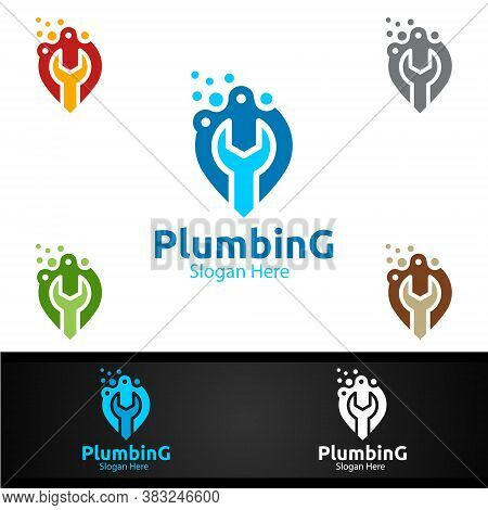 Pin Plumbing Logo With Water And Fix Home Concept Design