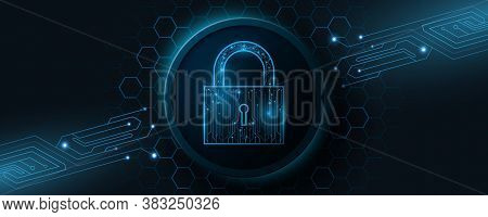 A Futuristic Lock Made From A Computer Circuit Board. Protected Data. Glowing Cyber Padlock On A Bac