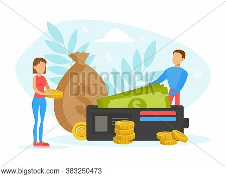 Tiny People With Purse And Money Bag, Investments, Savings, Income Flat Vector Illustration