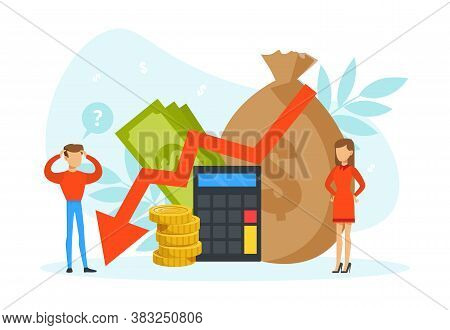Tiny People With Graph Falling, Purse And Money Bag, Money Loss Concept Flat Vector Illustration