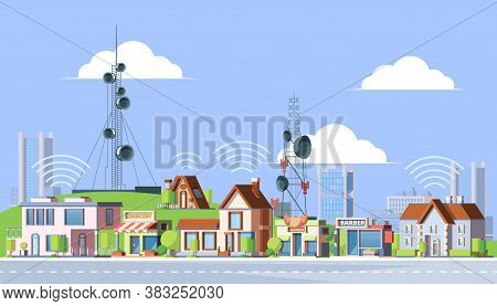 Cellular Towers In City Illustration. Communication Towers Next To Residential Buildings Distribute