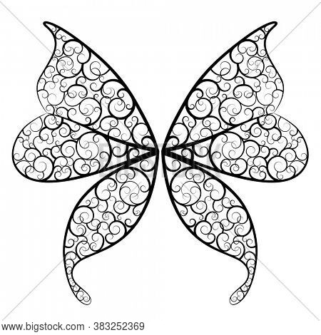 Decorative wings of a fantasy butterfly and a fairy. Black linear drawing isolated on white