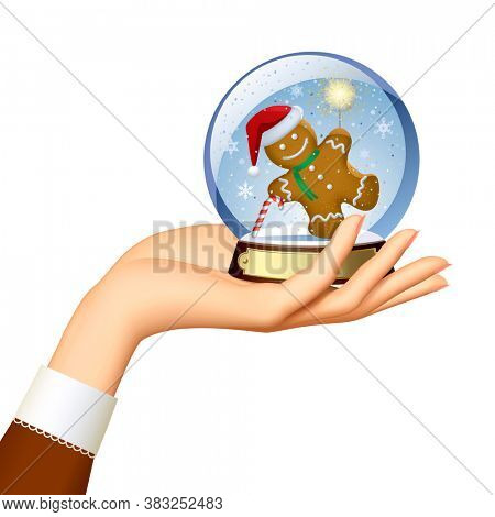 Female hand holding a Xmas snow globe with a gingerbread man with a sparkler within isolated on white. 3D illustration
