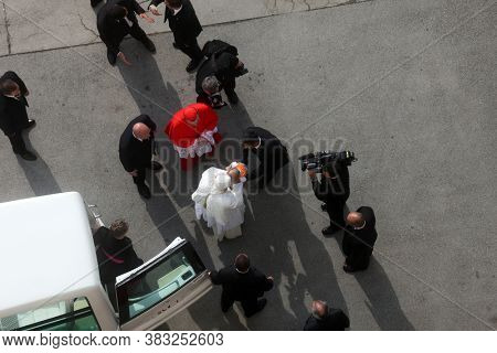 ZAGREB, CROATIA - JULY 13, 2011: Pope Benedict blesses a child at the entrance to the Zagreb Cathedral