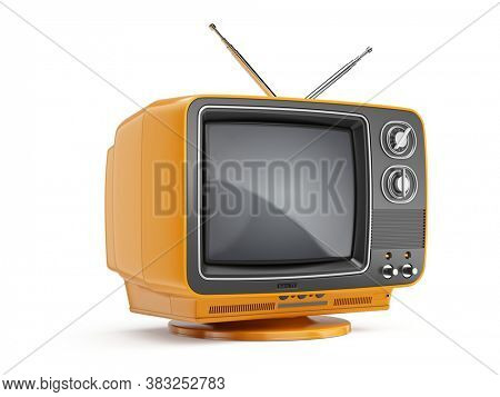 Orange Retro Red TV receiver isolated on white background. Old Retro TV - Broadcast Stream Video concept. 3d rendering