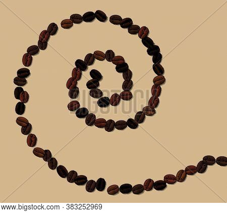 Spiral of brown coffee beans. Vintage engraving color stylized drawing