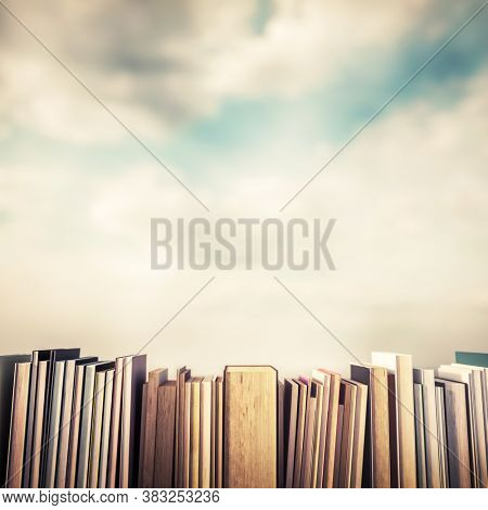 Books in a row. Education, science and reading concept. Back to school. 3D illustration