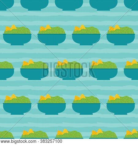 Guacamole Bowls With Nachos, Tortilla Chips Striped Vector Seamless Pattern Background.