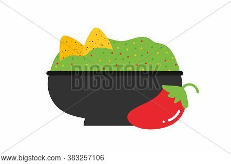 Mexican Guacamole Dip, Sauce In Bowl With Nachos Chips And Red Chili Pepper Vector Cartoon Style Ill