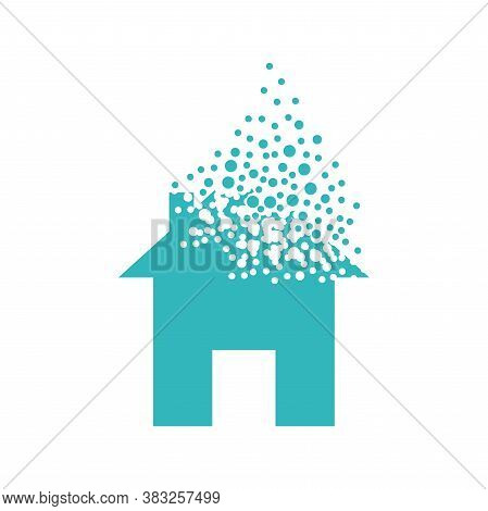 House Dispersing Into A Cloud Of Bubbles.