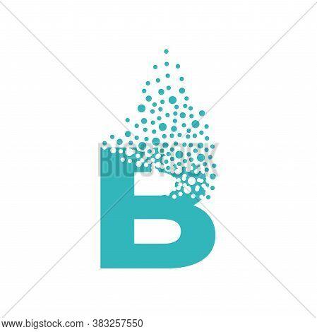 Letter B Dispersing Into A Cloud Of Bubbles.
