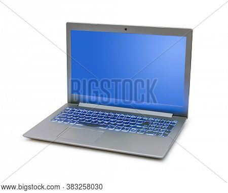 Notebook computer with blue keyboard backlight isolated on white background