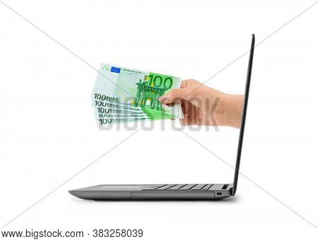 Hand with money and notebook isolated on white background