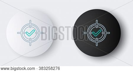 Line Target And Check Mark Icon Isolated On Grey Background. Dart Board Sign. Archery Board Icon. Da
