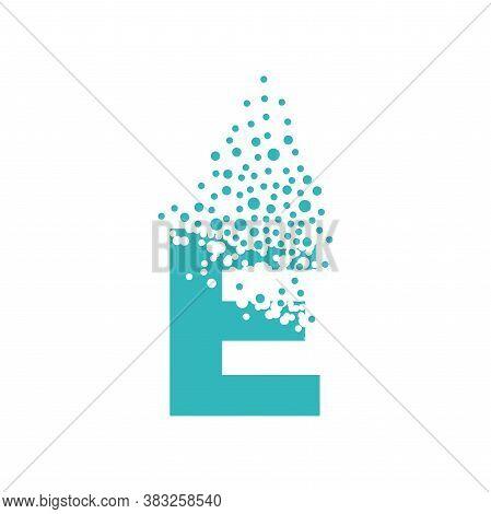 Letter E Dispersing Into A Cloud Of Bubbles.