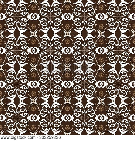 Beautiful Flower Motifs On Solo Batik Design With White Brown Color Design.