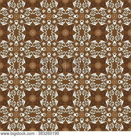 Simple Flower Motifs On Bantul Batik Design With Soft Brown Color Design.