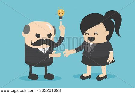 Business Concept Cartoon  Businesswoman Cooperate With Older Businessmen To Succeed
