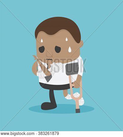 African Businessman Injured , Businessman On Crutches Of An Injured