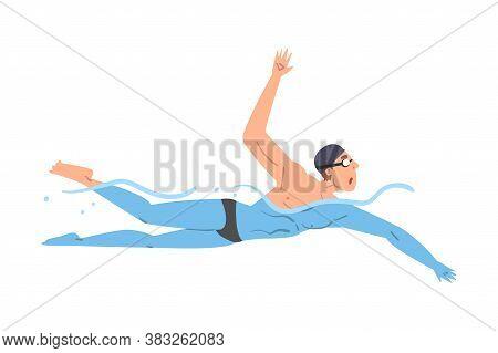 Male Athlete Swim In Swimming Pool, Person In Swimwear Performing Water Activities, Water Swim Sport