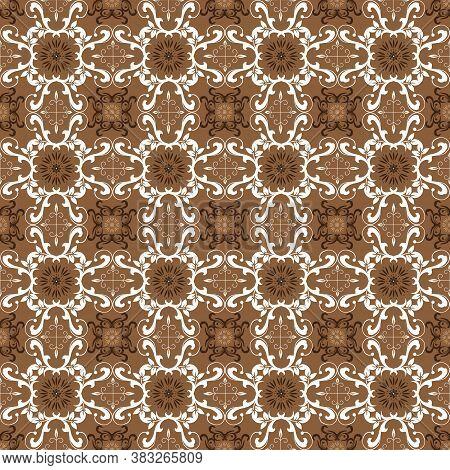 Modern Motifs On Parang Batik Design With Simple Brown Color Design.