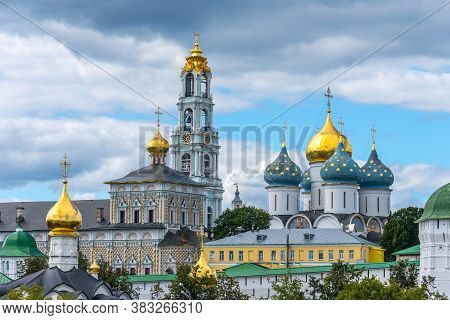 Picturesque View Of Trinity Lavra Of St. Sergius In Sergiyev Posad In Russia. Scenic Panoramic Summe