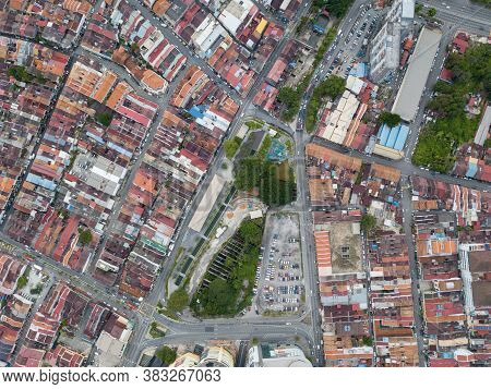 Aerial View Look Down Sia Boey Urban Archaeological Park With The Heritage House Surrounding.